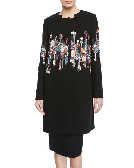 Pleated-Neck Garden-Sequined Embroidered Coat
