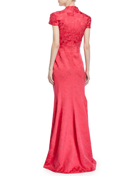 Party Jacquard V-Neck Cap-Sleeve Gown