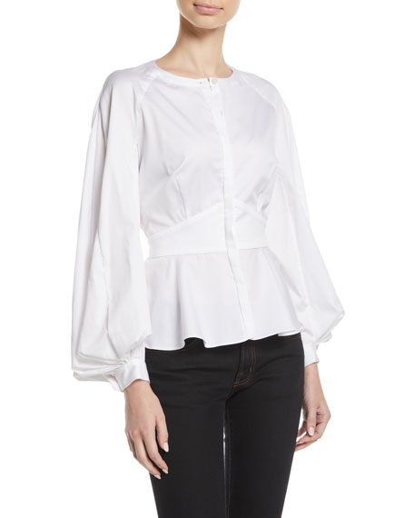 Pleated-Sleeve Collarless Button-Front Fitted Cotton Blouse
