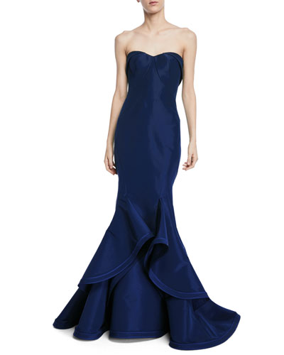Strapless Silk Faille Ruffle-Hem Evening Gown