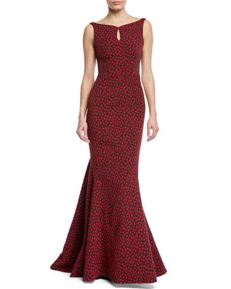 Floral Party Jacquard Sleeveless Mermaid Gown