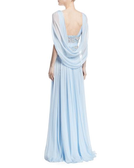 Beaded Bodice Drape-Back Evening Gown