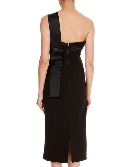 Crepe Satin-Trim One-Shoulder Drape Dress