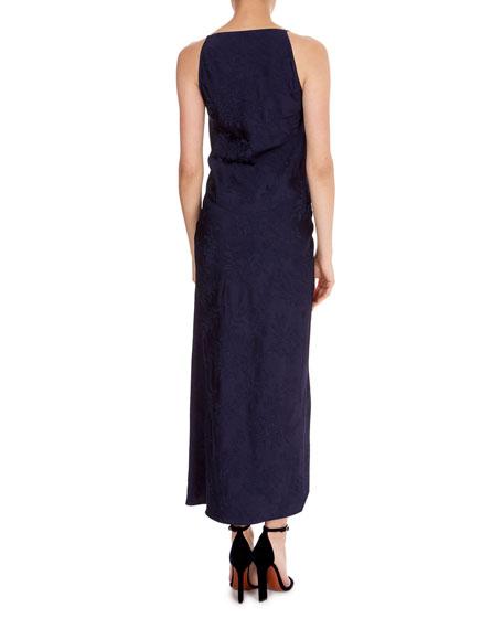 Draped-Front Jacquard Slip Cami Dress
