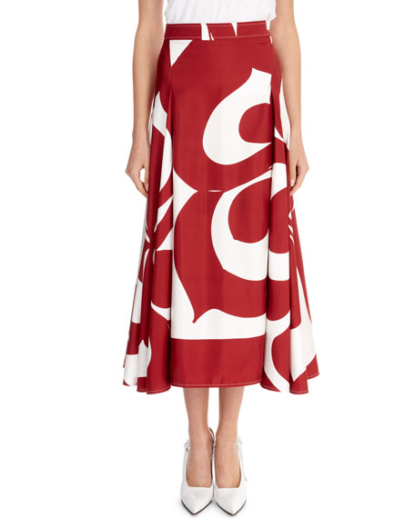 Graphic Floral Draped-Sides Silk Midi Skirt, Red/White