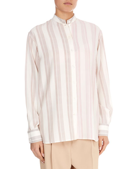 Silk Striped Grandad Top