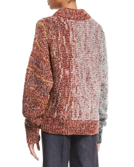 Crewneck Long-Sleeve Multi-Yarn Chunky-Knit Wool-Blend Sweater