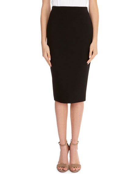Crepe Back-Zip Pencil Skirt