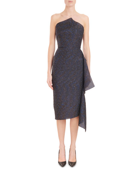 Strapless Metallic-Jacquard Fitted Midi Cocktail Dress
