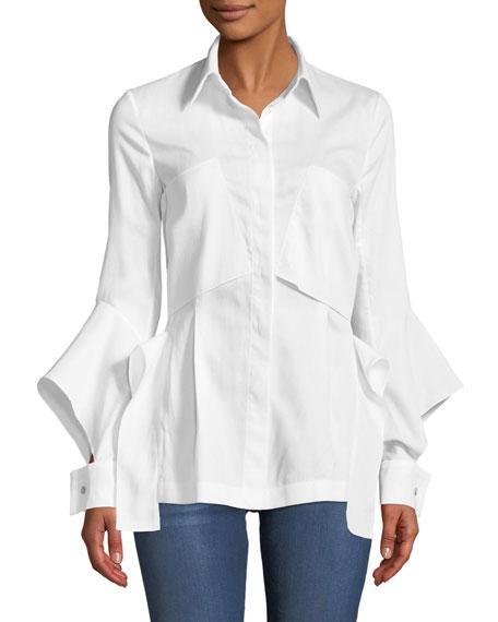 Deconstructed Button-Front Split-Cuff Cotton Pique Pocket Shirt