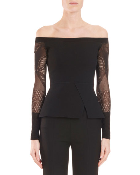 Off-the-Shoulder Peplum Knit Top with Lace Sleeves