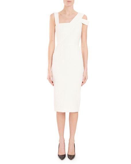 Asymmetric-Neck Sleeveless Fitted Midi Cocktail Dress