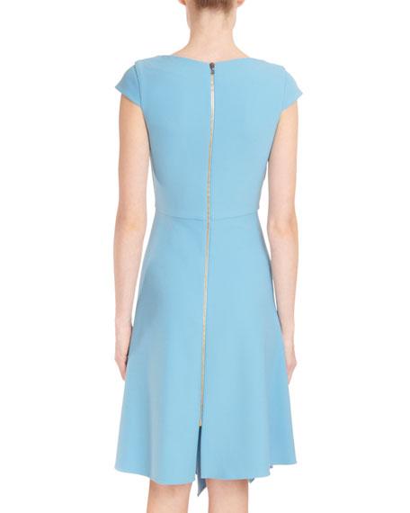 Asymmetric-Neck Cap-Sleeve Fit-and-Flare Crepe Dress w/ Handkerchief Hem