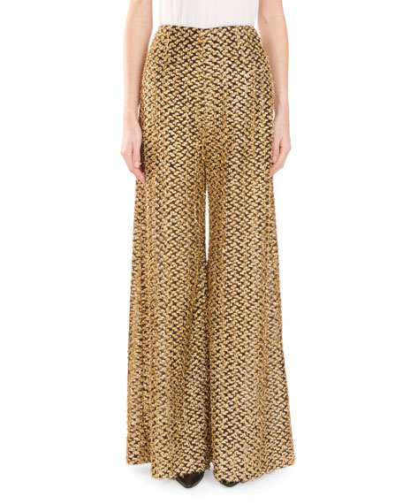 Metallic Fil Coupé Wide-Leg Pants Pants