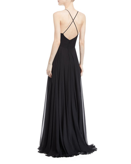 Tank Evening Gown w/ Chiffon Beaded Cape