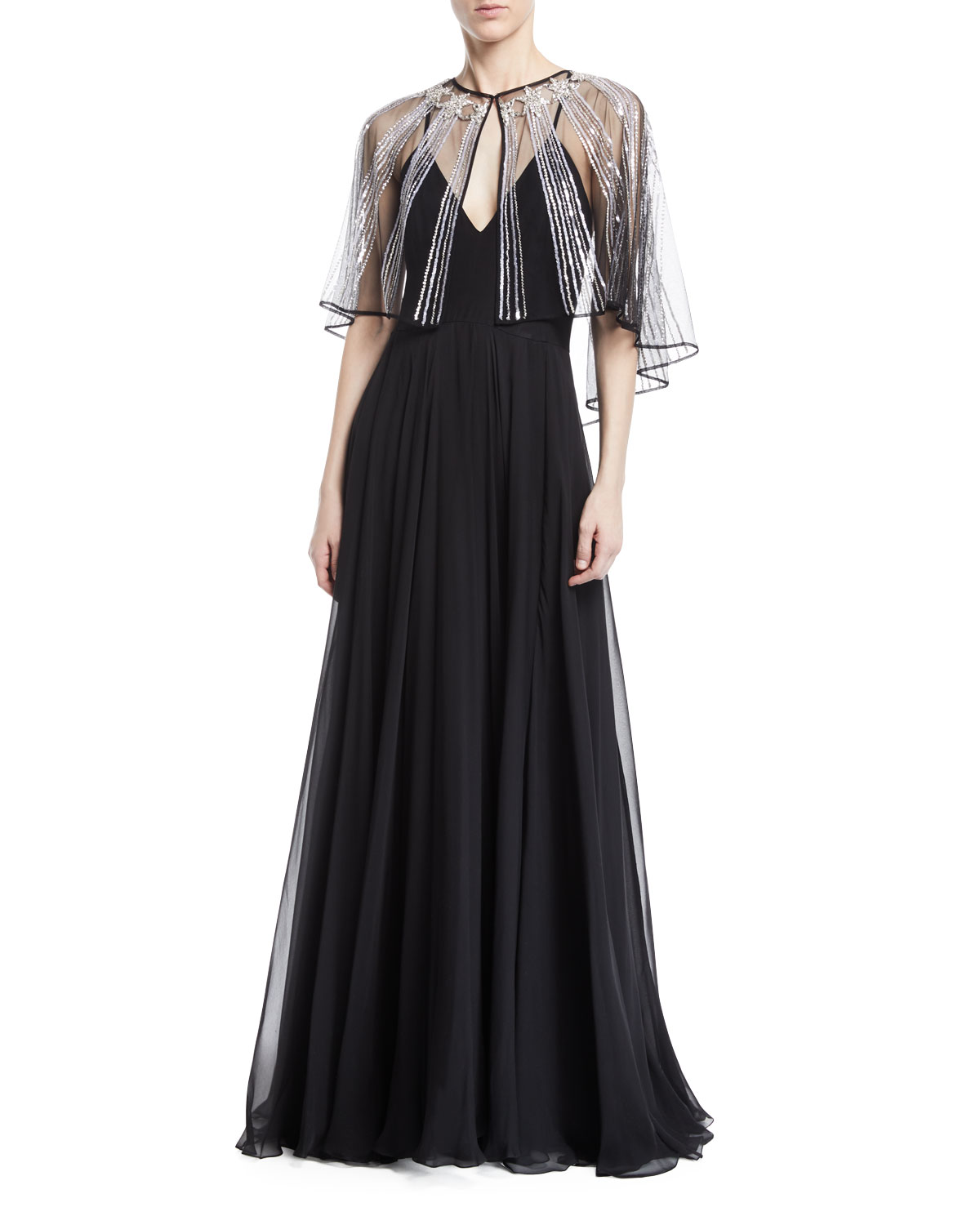 Zuhair Murad Tank Evening Gown w/ Chiffon Beaded Cape | Neiman Marcus