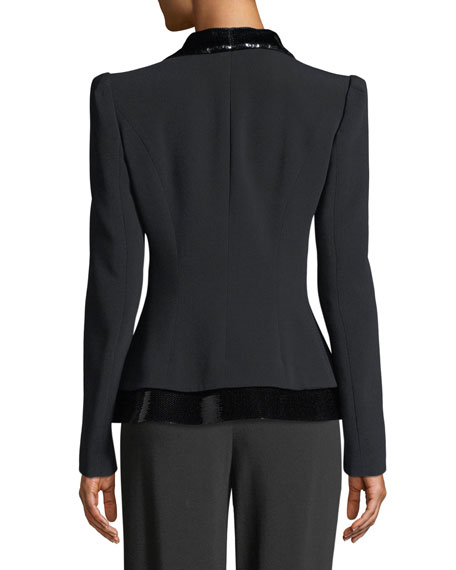 Hook-Front Tux Jacket with Sequin Lapel