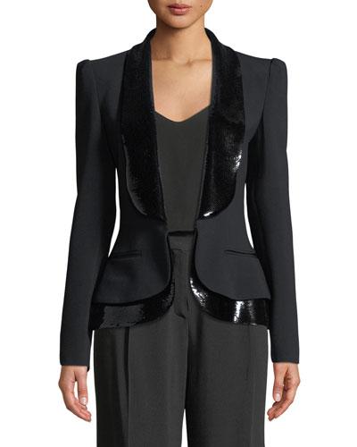 Hook-Front Tux Jacket with Sequin Lapel