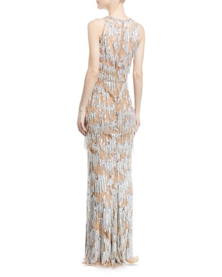 Sleeveless Fringe Beaded Straight Evening Gown