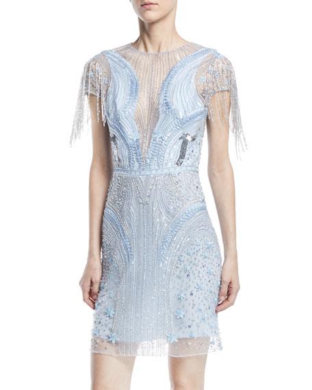 Fringe Beaded Straight Cocktail Dress