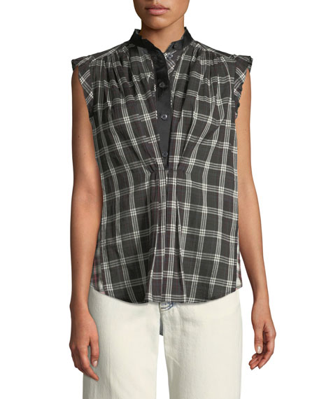 Sleeveless Cap-Sleeve Plaid Cotton Top W/ Collar, Black/White