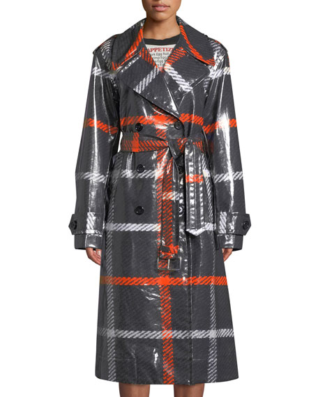 Marc Jacobs Double-Breasted Belted Windowpane Trench Coat and
