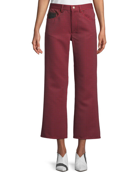 Marc Jacobs Wide-Leg Houndstooth Cropped Pants