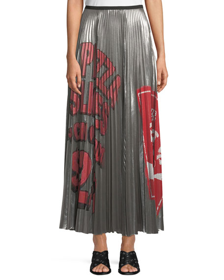 Pleated Metallic Graffiti-Print Long Skirt