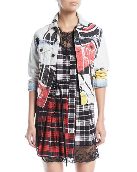 Mickey-Print Button-Down Denim Jacket in White