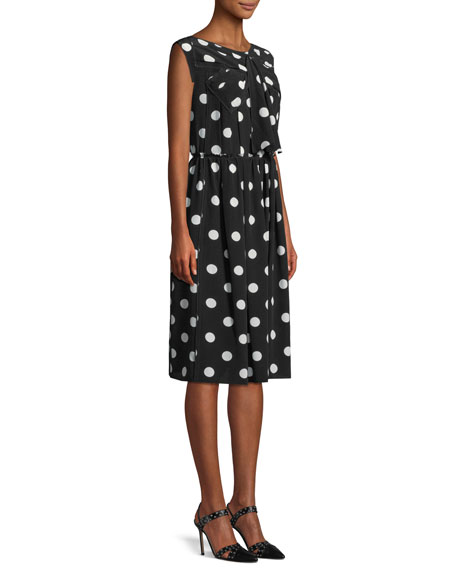 Sleeveless Medium Dot-Print Silk Dress w/ Bow