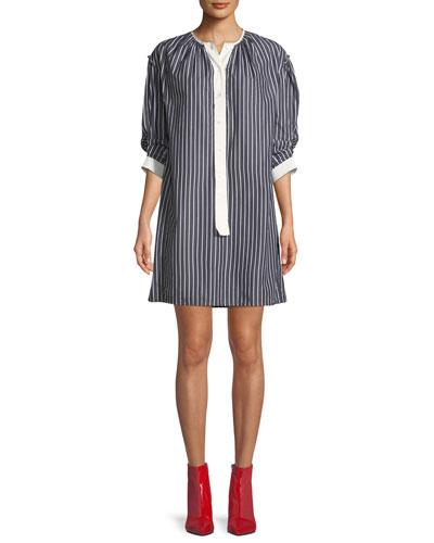 Crewneck 3/4-Sleeves Striped Cotton Shirtdress