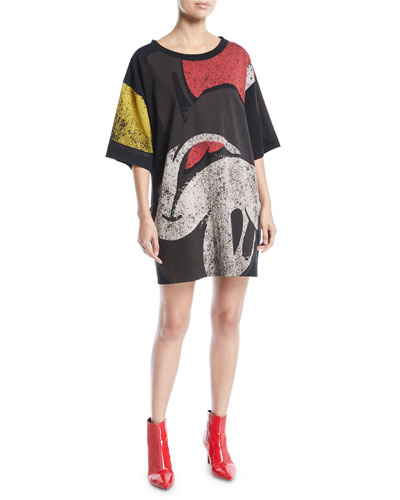 Crewneck Short-Sleeve T-Shirt Dress with Mickey-Print
