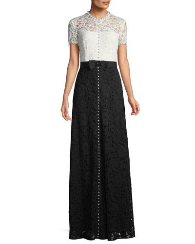 Short-Sleeve Lace Evening Gown w/ Crystal Detail & Grosgrain Belt