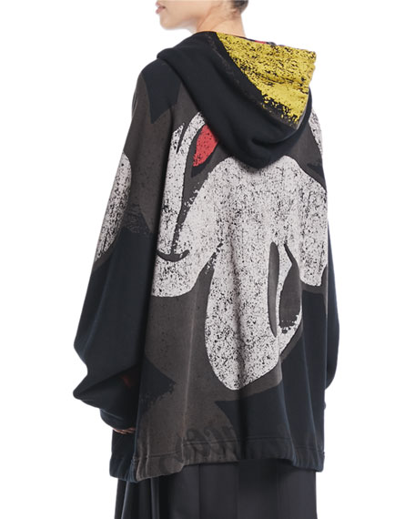 Mickey-Print Zip-Front Oversized Hooded Sweatshirt