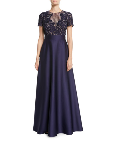Floral-Lace Bodice Full Satin Skirt Evening Gown