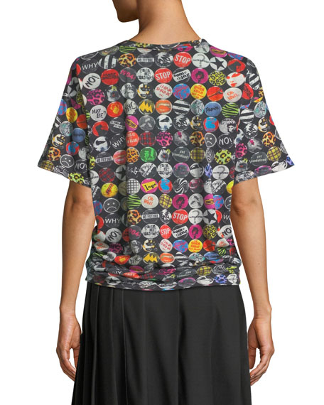 Badges-Print Short-Sleeve Cotton T-Shirt