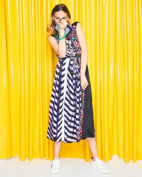 Sleeveless V-Neck Photographic Mixed-Print A-Line Dress