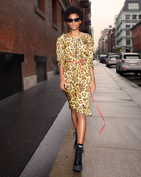 V-Neck 3/4-Sleeves Belted Leopard-Print Dress w/ Contrast Back
