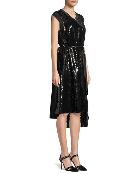 Sleeveless Sequined A-Line Cocktail Dress w/ Lace