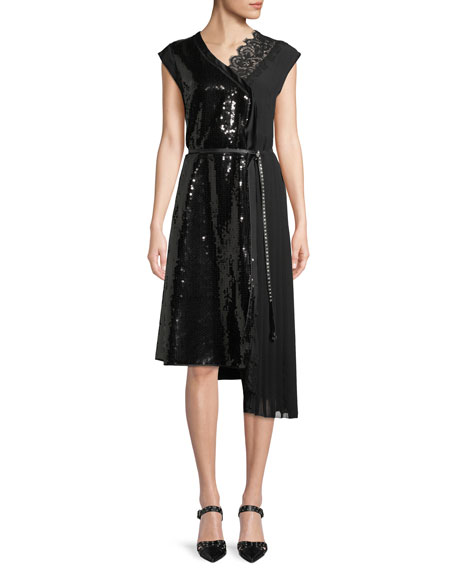 Marc Jacobs Sleeveless Sequined A-Line Cocktail Dress w/
