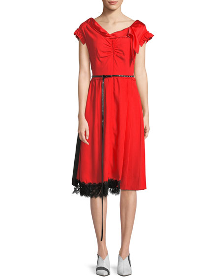 Cap-Sleeve V-Neck Belted Satin Dress w/ Lace Hem