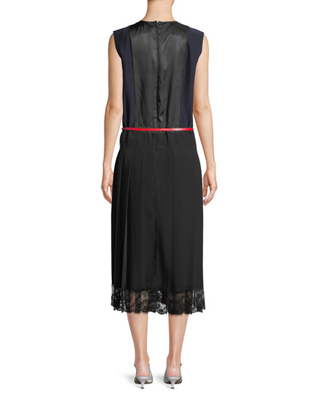 Sleeveless Belted A-Line Pleated Silk Dress w/ Lace Hem
