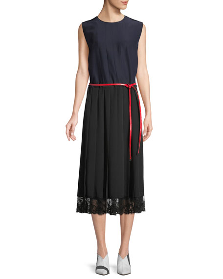 Marc Jacobs Sleeveless Belted A-Line Pleated Silk Dress