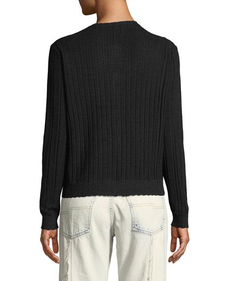 Crewneck Jewel-Button Ribbed Wool-Silk Cardigan