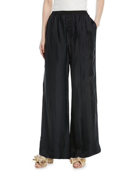 Elastic-Waist Wide-Leg Striped-Jacquard Pants