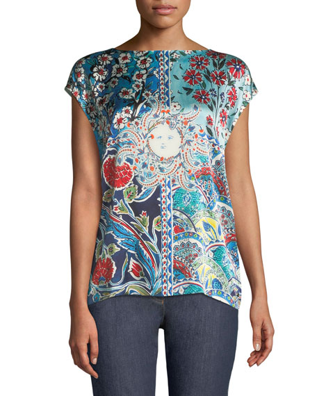 Sundial Floral-Print Cap-Sleeve Tee w/ Knit Back
