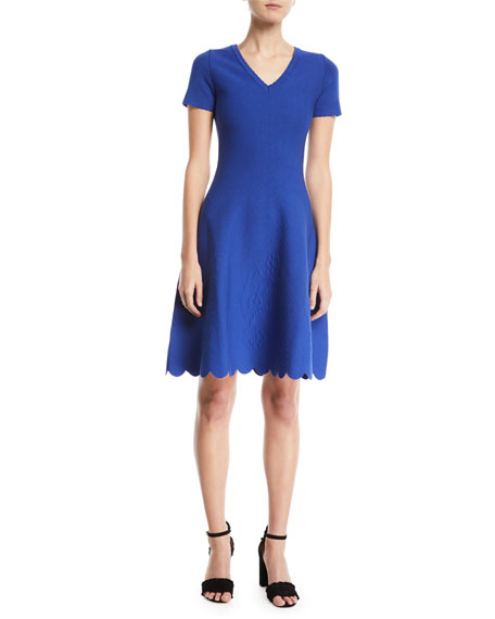 Escada Short-Sleeve Fit-and-Flare Jacquard-Knit Dress w/ Scallop