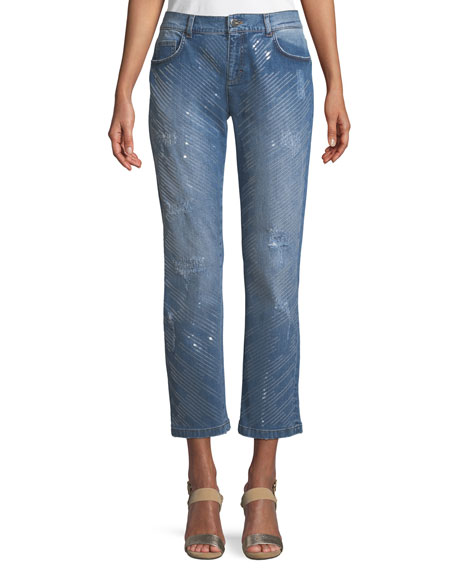 Five-Pocket Straight-Leg Jeans w/ Sequin Detailing