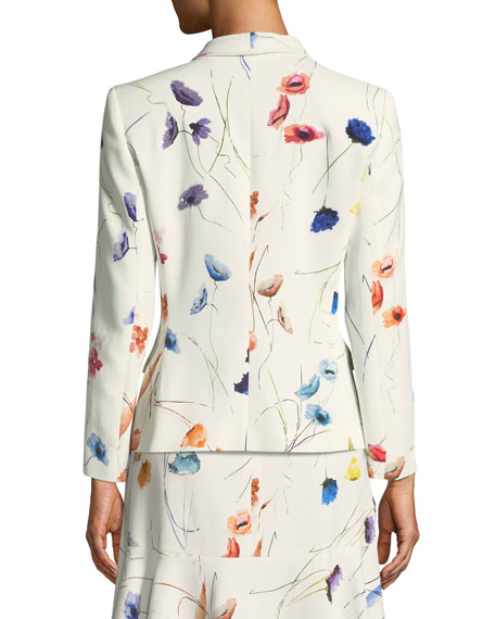 Watercolor Floral-Print 2-Button Blazer w/ Sequins