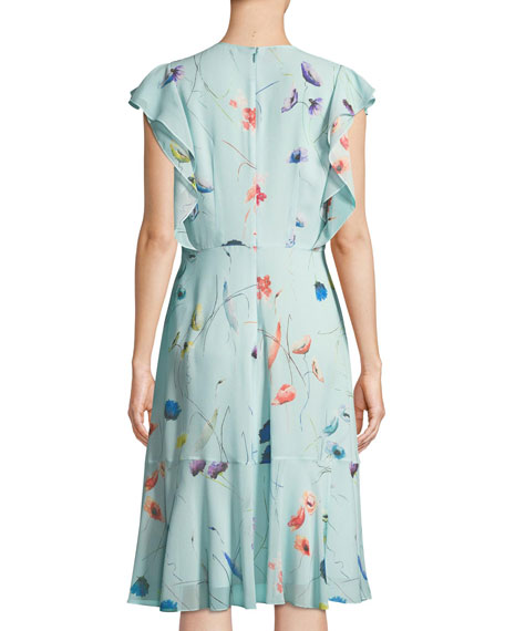 Floral-Print Sleeveless Ruffle Dress